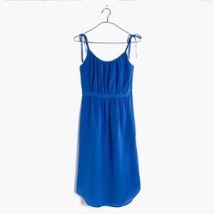 Madewell Dresses - Madewell Blue 100% Silk Skyway Cami Dress